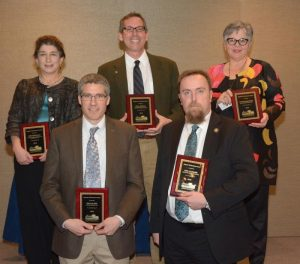 Superior Performance Award winners, front row (left to right): Rick Slade, superintendent of Catoctin Mountain Park, and Eric Leonard, superintendent of Minuteman Missile NHS, and back row (left to right): Niki Nicholas, superintendent of Big South Fork NRRA and Obed WSR; Paul DePrey, superintendent of Salem Maritime NHS and Saugus Iron Works NHS; and Kathleen Bond, superintendent of Natchez NHP.