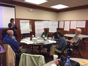 Staff from the Blue Ridge Parkway, partner organizations, and Harper's Ferry Media Center participate in a Long Range Interpretive Planning workshop in March 2017.