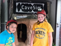 Third grade students from Middlesboro Elementary School prepare to enter CaveSim during the Celebrating a Legendary Land event at Cumberland Gap National Historical Park.