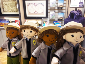 Park ranger plush toys are available at EN's San Juan NHS park store, where sales and visitation have rebounded post-Hurricane Maria. Photo: NPS